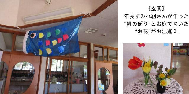 画像:鯉のぼりとお花